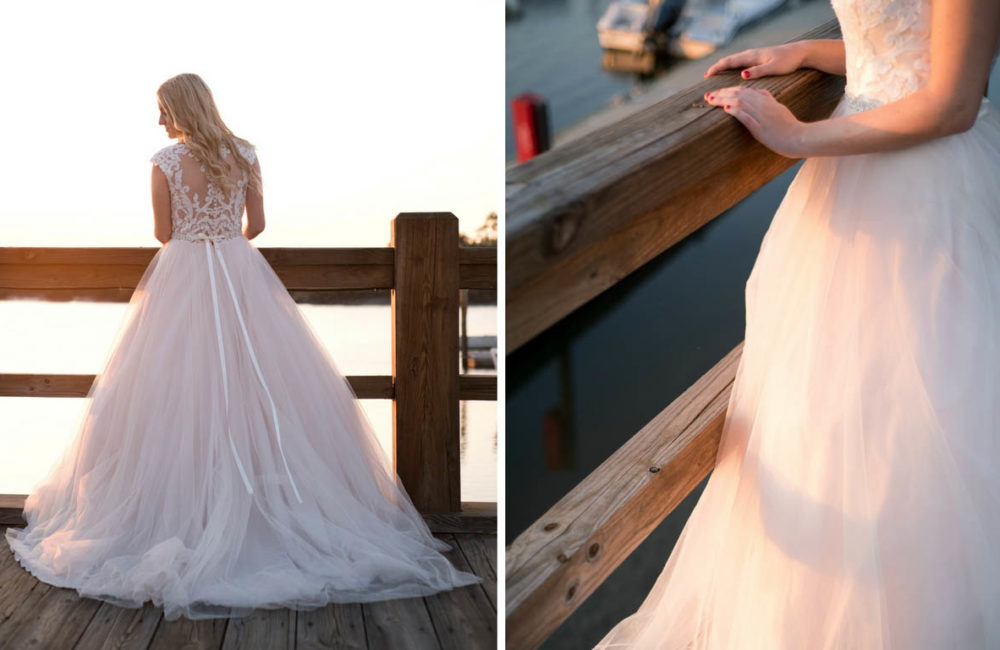 Blush bridal ball gown by Maggie Sottero Designs. Photographed at Delegal Marina in Savannah, Georgia by lifestyle brand photographer Kristen M. Brown, Samba to the Sea.