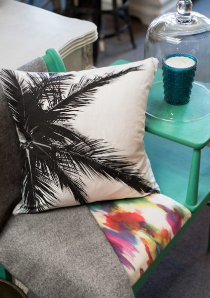 Black and white palm tree accent pillow by Samba to the Sea.