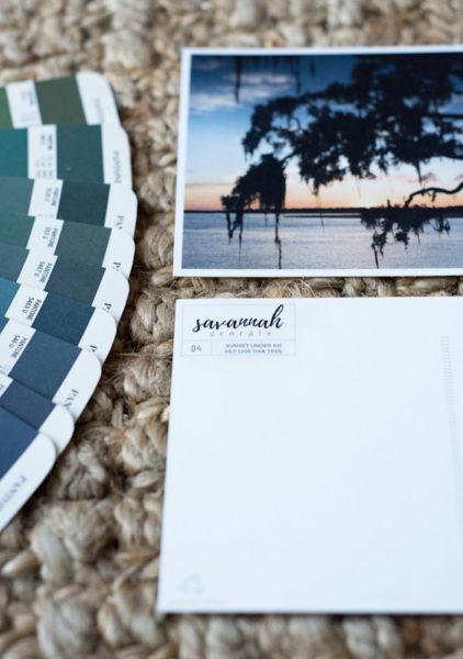Live Oak Sunset Savannah Postcard by Samba to the Sea.