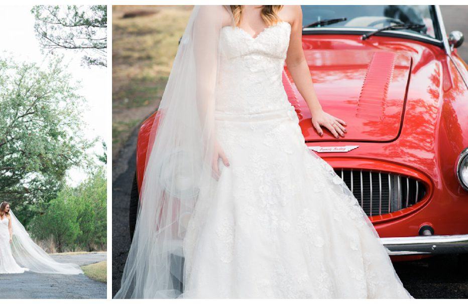 Bridal portraits in Savannah, Georgia in a red Austin Healey. Photographed by Kristen M. Brown, Samba to the Sea Photography.