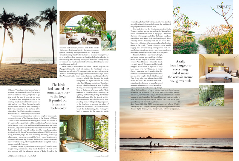 Harper's Bazaar Escape March 2018 featuring Costa Rica images photographed by Kristen M. Brown, Samba to the Sea.